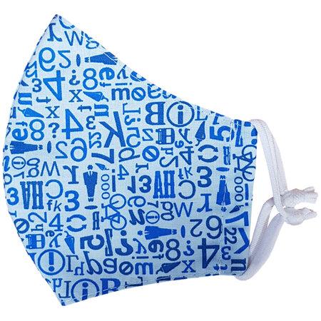 Bavlnené rúško s modrým vzorom – čísla a písmená